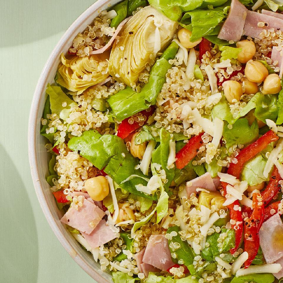 <p>This healthy version of a deli salad combines hearty quinoa and chickpeas with small amounts of ham and mozzarella, so you get all of the flavor without overdoing it on the sodium. This healthy quinoa salad is great as dinner and doubles as a delicious lunch the next day.</p>