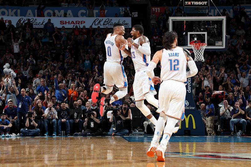 Westbrook sets another triple-double record in Thunder win