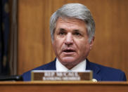 Rep. Michael McCaul, R-Texas, speaks during the House Committee on Foreign Affairs hearing on the administration foreign policy priorities on Capitol Hill on Wednesday, March 10, 2021, in Washington. (Ken Cedeno/Pool via AP)