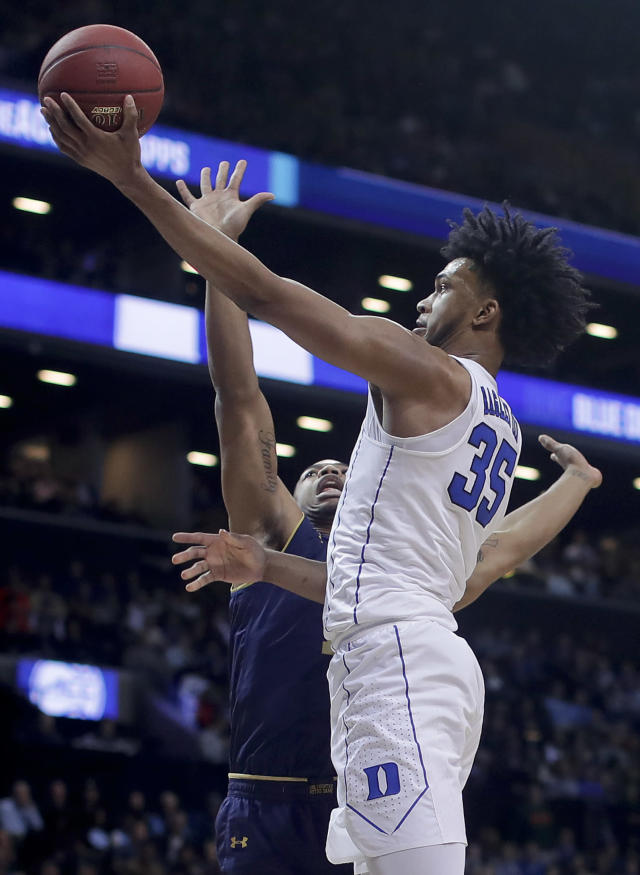 Duke forward Marvin Bagley III (35) shoots against Notre Dame forward Elijah Burns (12) during the second half of an NCAA college basketball game in the Atlantic Coast Conference men's tournament Thursday, March 8, 2018, in New York. (AP Photo/Julie Jacobson)