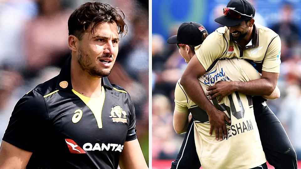 A heroic batting performance from Marcus Stoinis wasn't enough to help Australia complete a wild comeback against New Zealand, with the home side taking a 2-0 series lead. Pictures: Getty Images