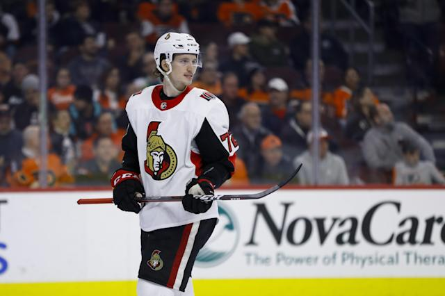 Ottawa Senators' Thomas Chabot in action during an NHL hockey game against the Philadelphia Flyers, Monday, March 11, 2019, in Philadelphia. (AP Photo/Matt Slocum)