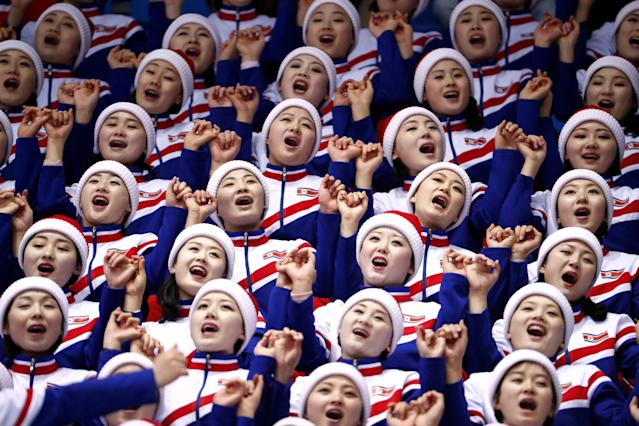 Short Track Speed Skating Events - Pyeongchang 2018 Winter Olympics - Women's 1000m Competition - Gangneung Ice Arena - Gangneung, South Korea - February 20, 2018. North Korean cheerleaders before the start. REUTERS/Damir Sagolj TPX IMAGES OF THE DAY