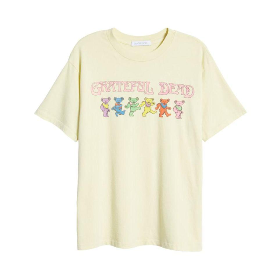 """<p><strong>DAYDREAMER</strong></p><p>nordstrom.com</p><p><a href=""""https://go.redirectingat.com?id=74968X1596630&url=https%3A%2F%2Fwww.nordstrom.com%2Fs%2Fdaydreamer-grateful-dead-dancing-bears-graphic-tee%2F5856042&sref=https%3A%2F%2Fwww.elle.com%2Ffashion%2Fshopping%2Fg36462948%2Fnordstrom-half-yearly-sale-2021%2F"""" rel=""""nofollow noopener"""" target=""""_blank"""" data-ylk=""""slk:Shop Now"""" class=""""link rapid-noclick-resp"""">Shop Now</a></p><p><strong><del>$69</del> $41 (40% off)</strong></p>"""