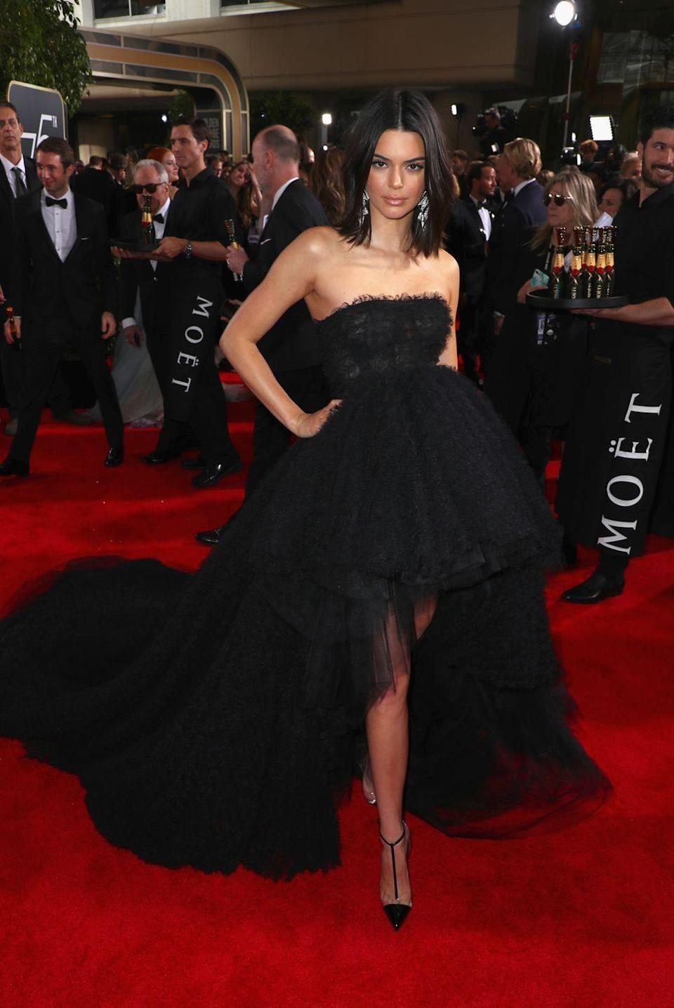 <p>The model wore a black Giambattista Valli gown for the 75th Annual Golden Globe Awards</p>