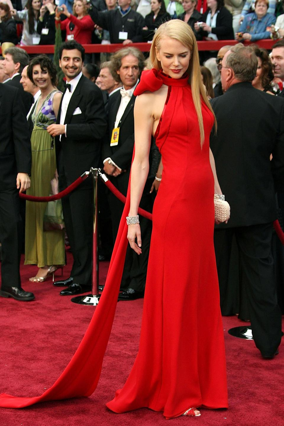 """<strong><h2>Nicole Kidman, 2007</h2></strong><br>Nicole Kidman in Balenciaga would hardly be our first choice in 2021, but after seeing the Oscar-winning Australian actress in this red hot gown, we promise to never doubt the combination again.<br><br><em>Nicole Kidman in Balenciaga.</em><span class=""""copyright"""">Photo: Frazer Harrison/Getty Images. </span>"""