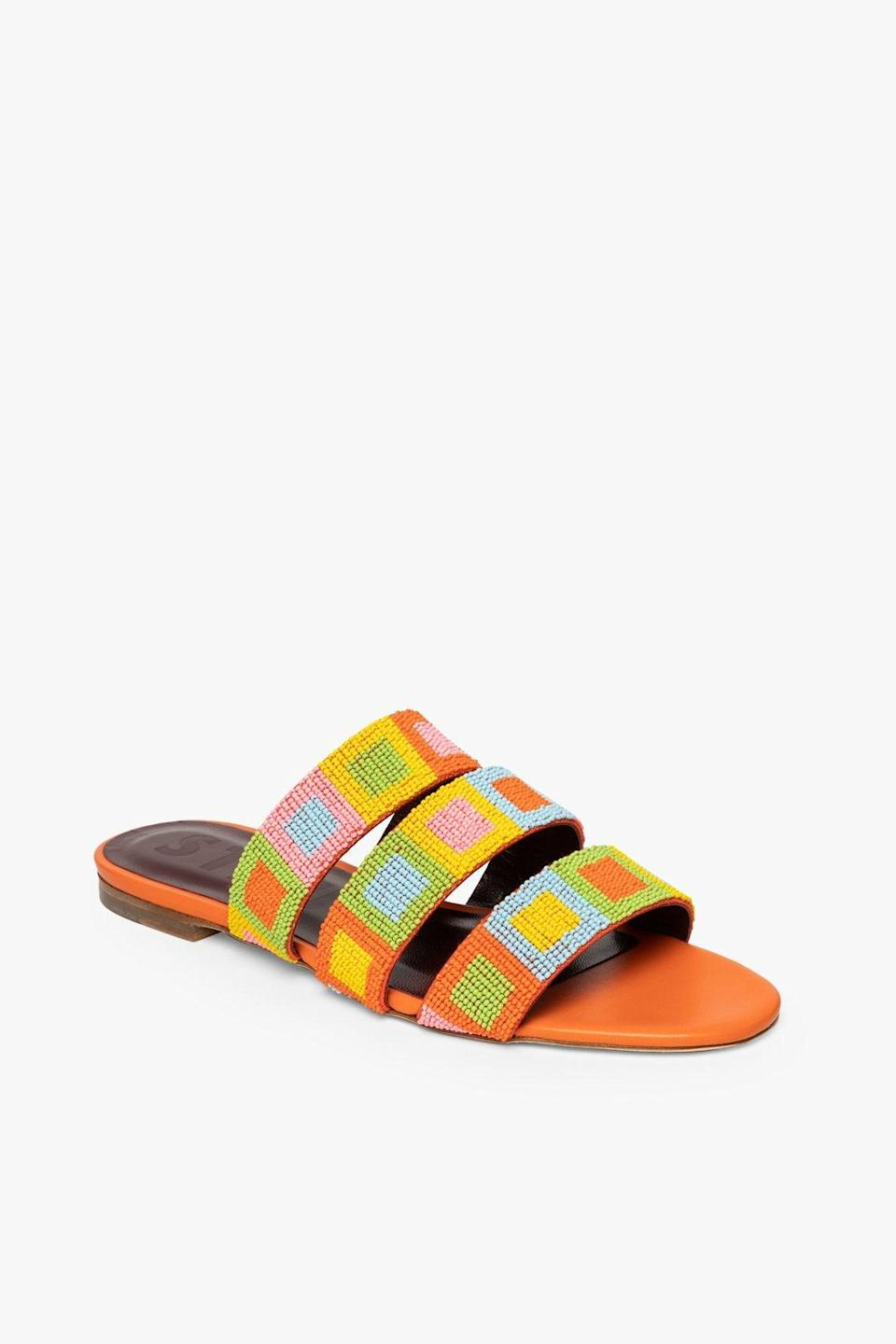 """<br><br><strong>Staud</strong> Mona Beaded Sandal, $, available at <a href=""""https://go.skimresources.com/?id=30283X879131&url=https%3A%2F%2Fstaud.clothing%2Fcollections%2Fspring-21%2Fproducts%2Fmona-beaded-sandal-nectarine-multi-bead%3Fvariant%3D39324184969389"""" rel=""""nofollow noopener"""" target=""""_blank"""" data-ylk=""""slk:Staud"""" class=""""link rapid-noclick-resp"""">Staud</a>"""