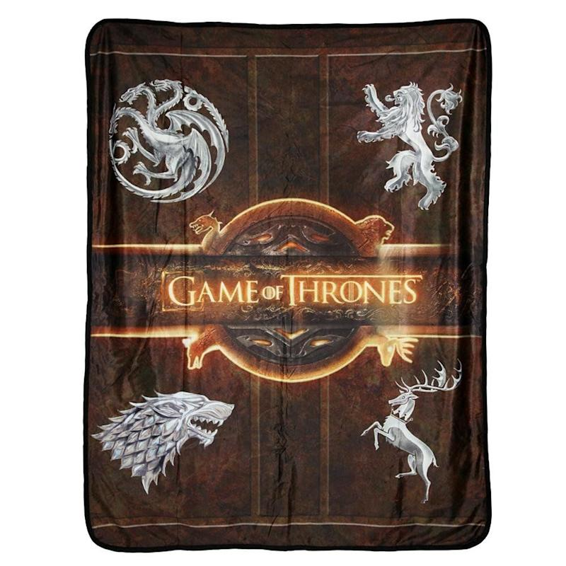 Four of Westeros's great Houses are featured on this fleece throw (Photo: HBO Store)
