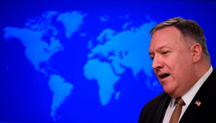 US Secretary of State Mike Pompeo speaks during a press conference at the State Department in Washington, DC, on March 25, 2020.