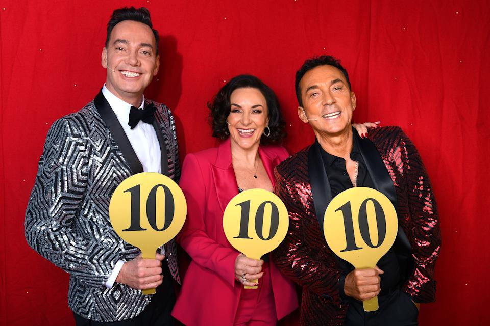 Craig Revel Horwood, Shirley Ballas and Bruno Tonioli during the opening night of the Strictly Arena Tour 2020 at Arena Birmingham on January 16, 2020 (Photo by Dave J Hogan/Getty Images)