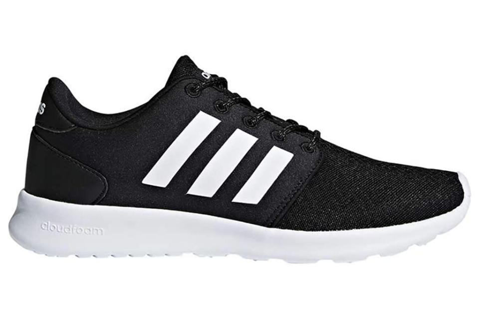 adidas, running shoes, black, white, cloudfoam
