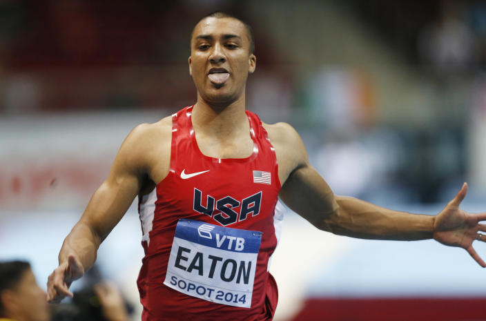 United States' Ashton Eaton competes in the 60m race of the Men's Heptathlon during the Athletics World Indoor Championships in Sopot, Poland, Friday, March 7, 2014. (AP Photo/Petr David Josek)