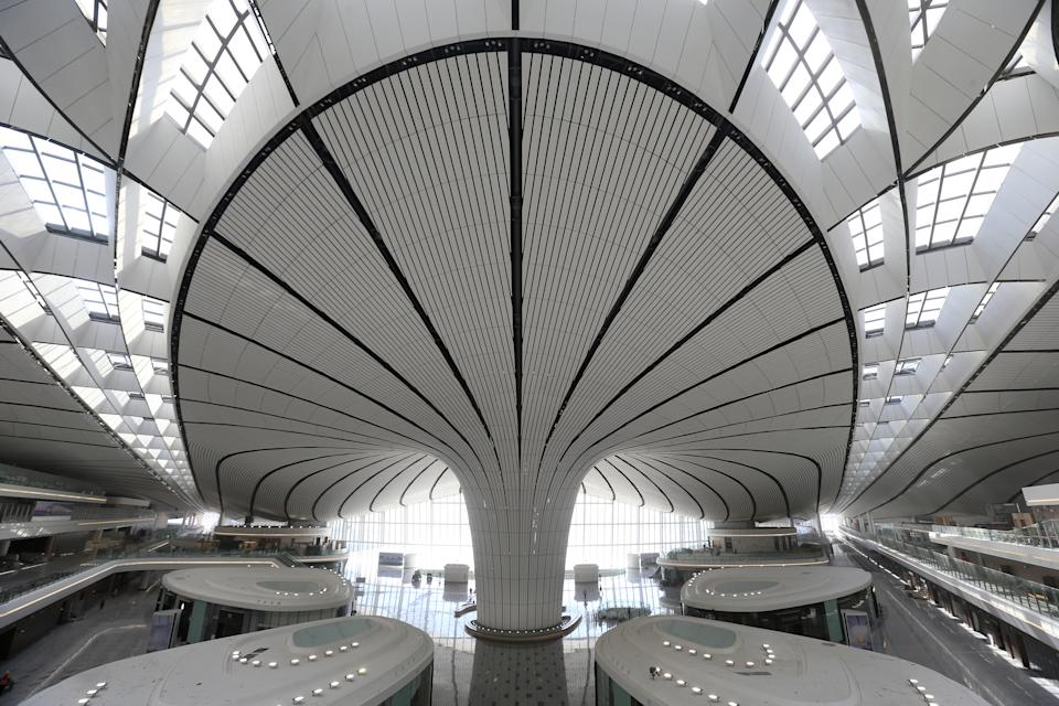 Reporters visit the Beijing Daxing International Airport. It took five years of work to construct the airport. (Photo by Visual China Group via Getty Images/Visual China Group via Getty Images)