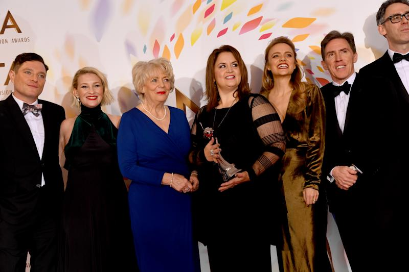 "LONDON, ENGLAND - JANUARY 28: (L to R) Mathew Horne, Joanna Page, Alison Steadman, Ruth Jones, Laura Aikman, Rob Brydon and Robert Wilfort accepting the Impact Award for ""Gavin and Stacey, Christmas Special"", pose during the National Television Awards 2020 at The O2 Arena on January 28, 2020 in London, England. (Photo by Dave J Hogan/Getty Images)"