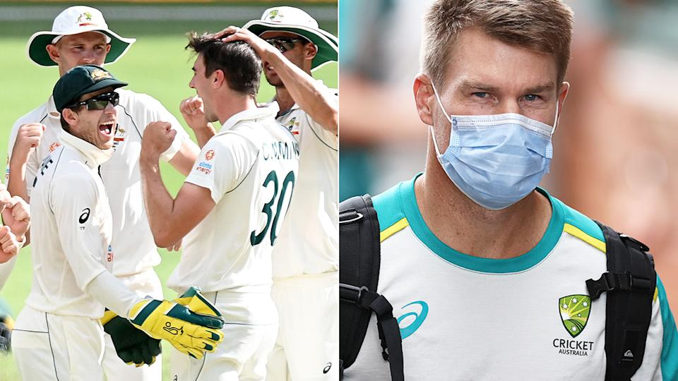 Pictured here, Australia's players celebrate during a match and David Warner wears a face mask in the image on the right.