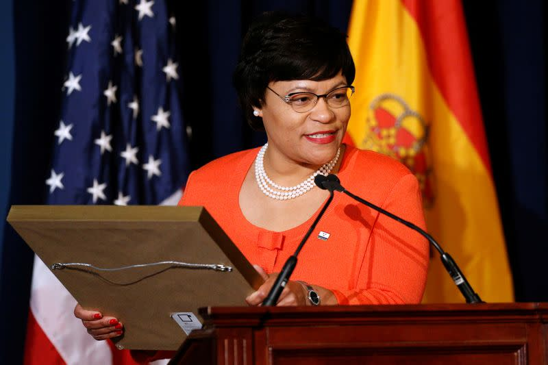 FILE PHOTO: New Orleans Mayor LaToya Cantrell speaks during a welcoming ceremony for Spain's King Felipe VI and Queen Letizia at Gallier Hall in New Orleans