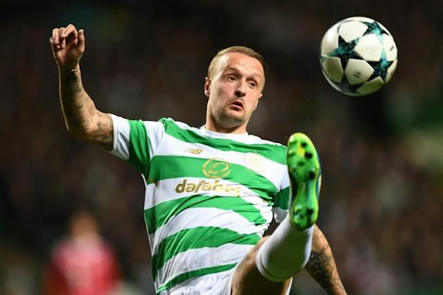 Celtic's striker Leigh Griffiths, pictured in October 2017, fired home a 70th minute winner against Partick Thistle
