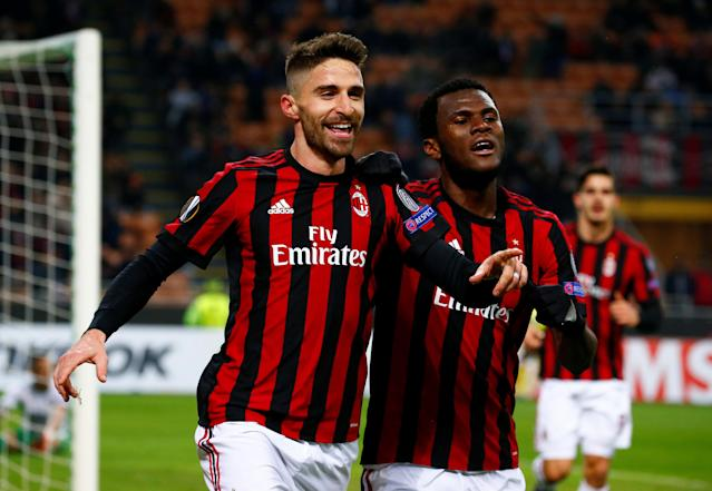 Soccer Football - Europa League Round of 32 Second Leg - AC Milan vs PFC Ludogorets Razgrad - San Siro, Milan, Italy - February 22, 2018 AC Milan's Fabio Borini celebrates scoring their first goal with Franck Kessie REUTERS/Tony Gentile