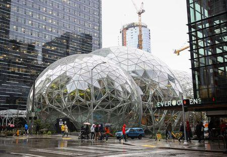 The Amazon Spheres are seen from 6th Avenue in Seattle