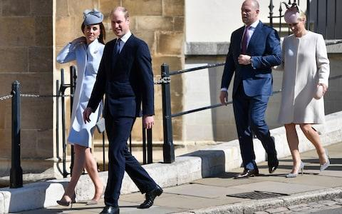 The Duke and Duchess of Cambridge followed by Zara and Mike Tindall - Credit: Rex