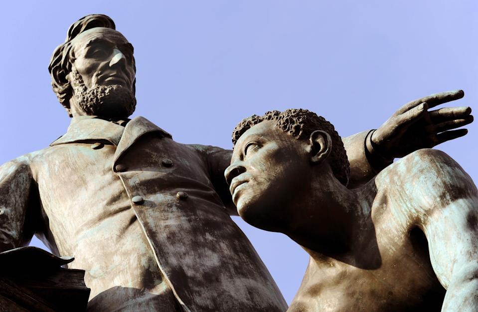 The Emancipation statue, depicting a slave breaking the chains of captivity as Abraham Lincoln reads the Emancipation Proclamation. (Photo: Getty)