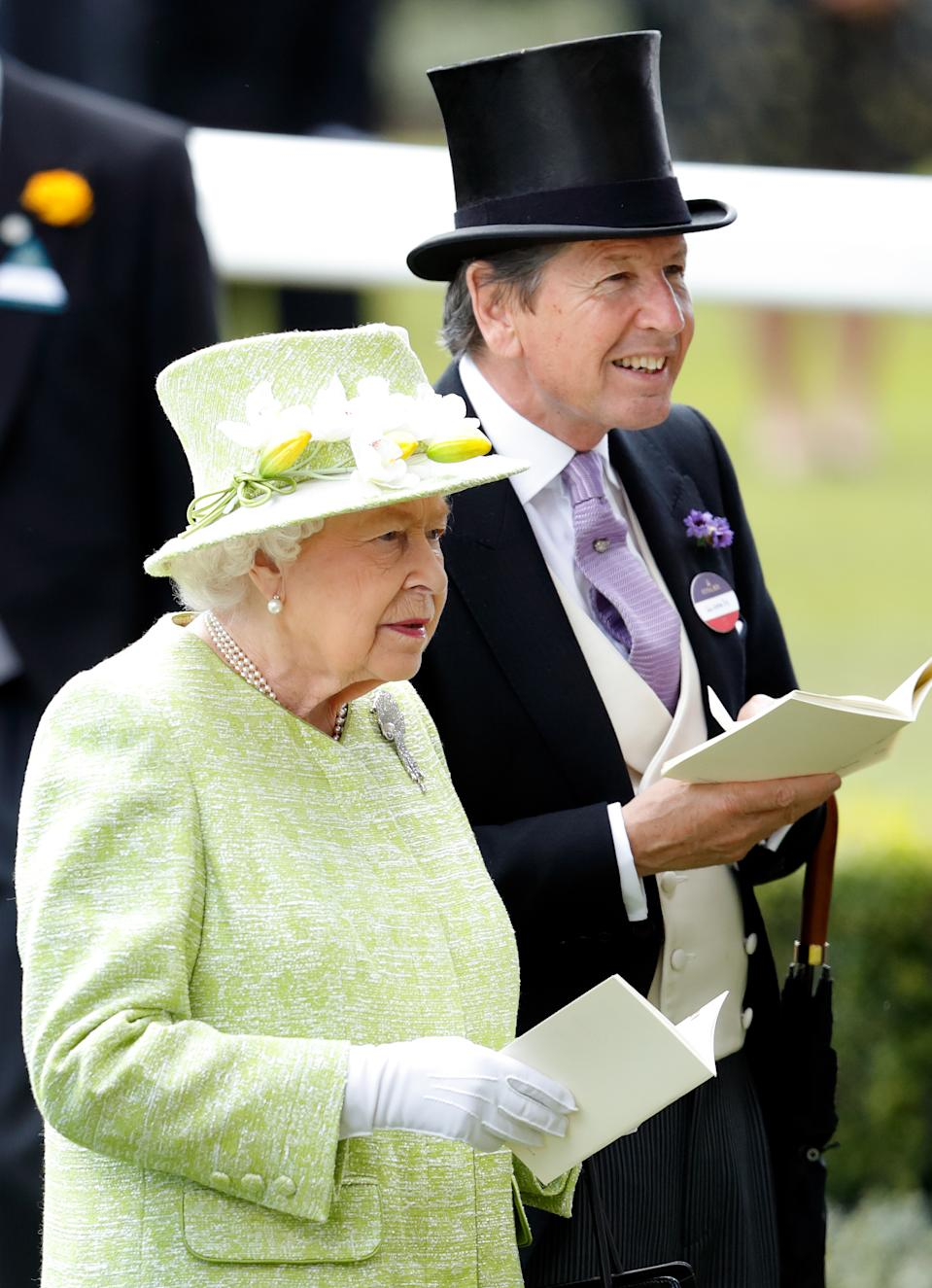 ASCOT, UNITED KINGDOM - JUNE 22: (EMBARGOED FOR PUBLICATION IN UK NEWSPAPERS UNTIL 24 HOURS AFTER CREATE DATE AND TIME) Queen Elizabeth II and John Warren attend day five of Royal Ascot at Ascot Racecourse on June 22, 2019 in Ascot, England. (Photo by Max Mumby/Indigo/Getty Images)
