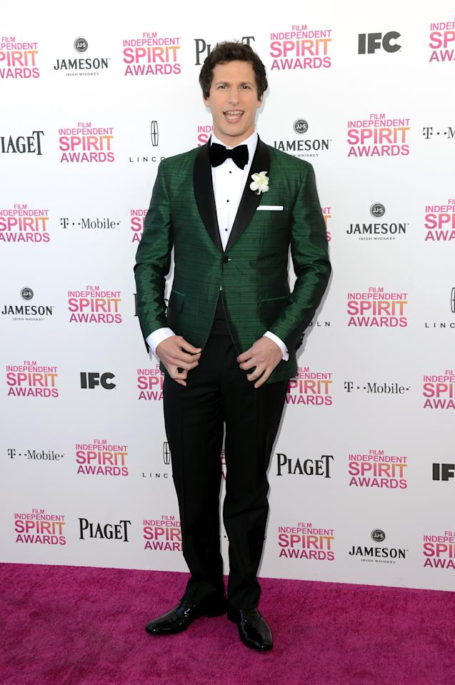 SANTA MONICA, CA - FEBRUARY 23:  Host Andy Samberg attends the 2013 Film Independent Spirit Awards at Santa Monica Beach on February 23, 2013 in Santa Monica, California.  (Photo by Jason Merritt/Getty Images)
