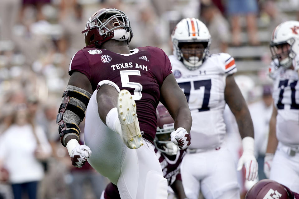 Texas A&M defensive lineman Bobby Brown III (5) reacts after stopping Auburn on a run play during the first half of an NCAA college football game, Saturday, Sept. 21, 2019, in College Station, Texas. (AP Photo/Sam Craft)