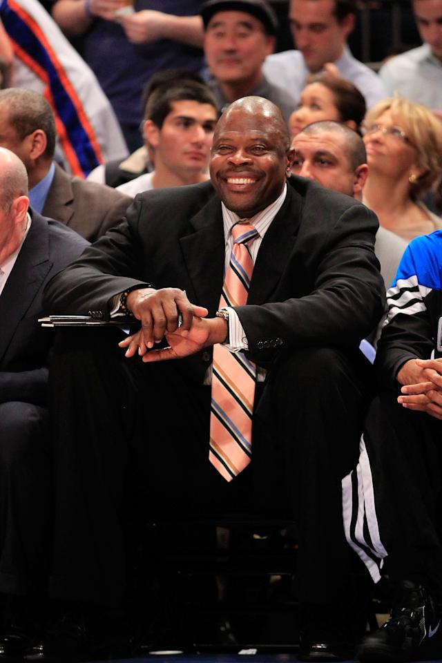 NEW YORK, NY - MARCH 28: Patrick Ewing the former Knicks player and now coach for the Orlando Magic sits on the bench against the New York Knicks at Madison Square Garden on March 28, 2012 in New York City. NOTE TO USER: User expressly acknowledges and agrees that, by downloading and/or using this Photograph, user is consenting to the terms and conditions of the Getty Images License Agreement. (Photo by Chris Trotman/Getty Images)