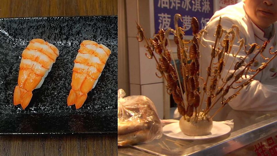 Cell-based shrimps from Shiok Meats; pictured next to cooked insects on a skewer at a street stall. (PHOTO: Shiok Meats, Getty Images)