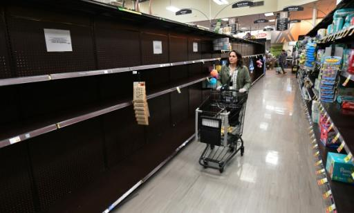 Bare shelves are now normal at supermarkets Instacart driver Monica Ortega shops at in the San Fernando Valley