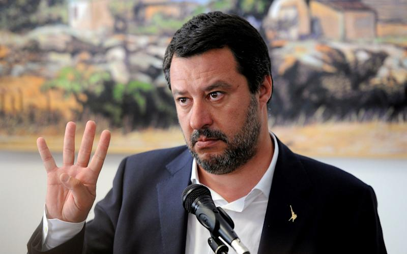 Matteo Salvini inaugurates a police headquarters in 'The Godfather' home town of Corleone on Thursday April 25 - REUTERS