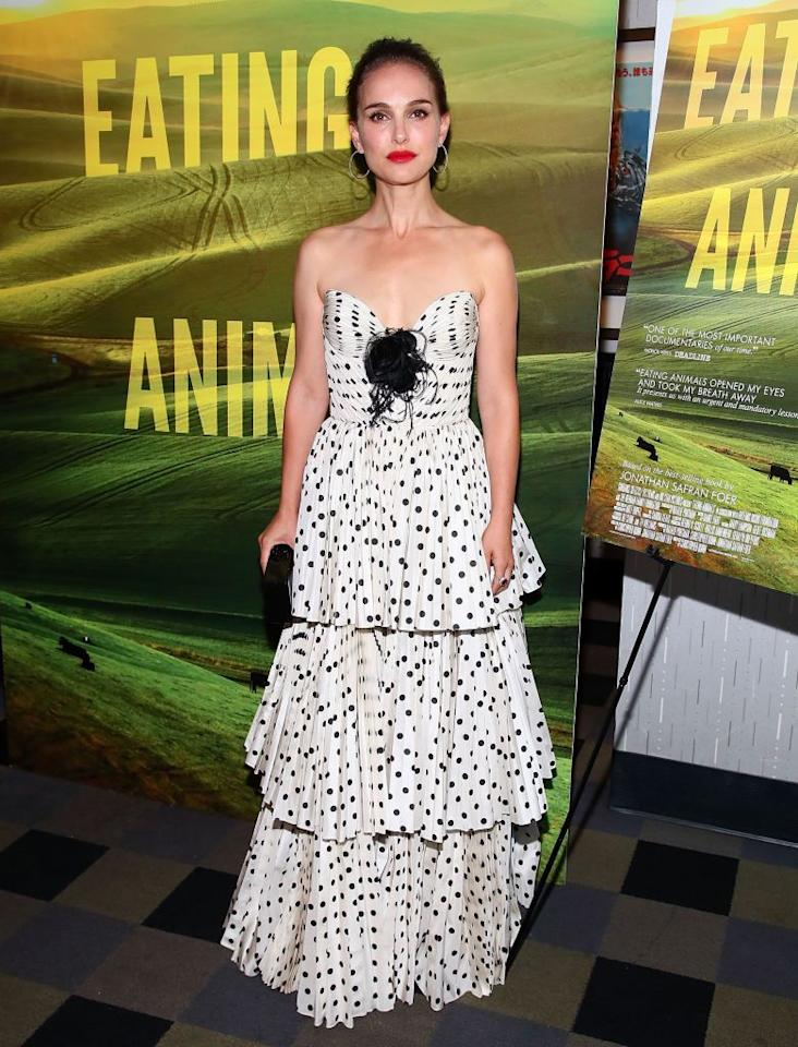 <p>Portman sported a black polka dot Miu Miu dress to the screening of her new documentary <em>Eating Animals</em> in New York City on June 14.</p>