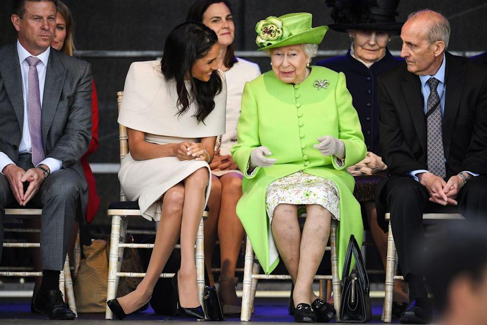 <p>For royal women, whenever they are sitting down, they are expected to sit with their legs and knees together while having their ankles crossed. Meghan has clearly not abided by those rules...which is fine!!</p>