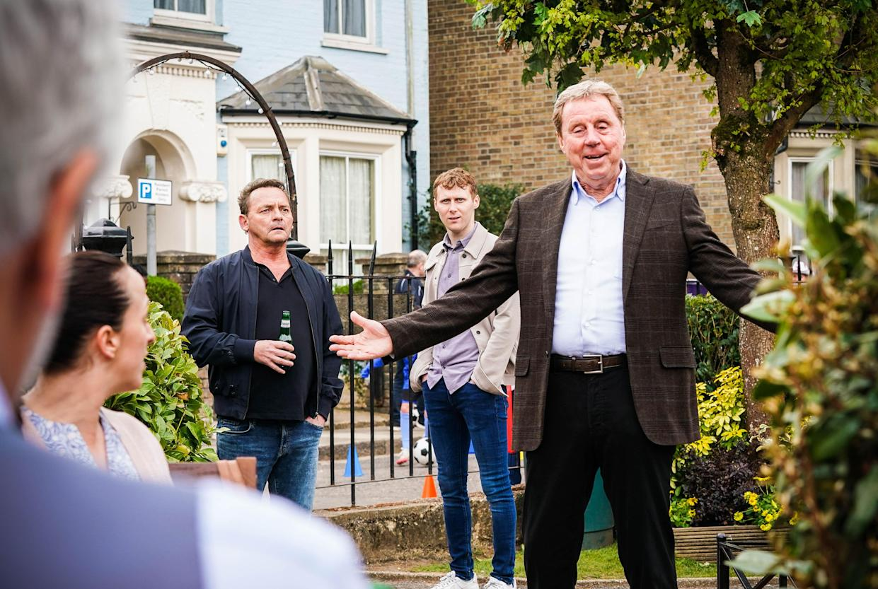 WARNING: Embargoed for publication until 00:00:01 on 29/06/2021 - Programme Name: EastEnders - July-September 2021 - TX: 09/07/2021 - Episode: EastEnders - July-September 2021 - 6304 (No. n/a) - Picture Shows: ***Hold for exclusive for The Sun on Sunday (4th July)*** Sonia Fowler (NATALIE CASSIDY), Billy Mitchell (PERRY FENWICK), Jay Brown (JAMIE BORTHWICK), Harry Redknapp - (C) BBC - Photographer: Kieron McCarron/Jack Barnes