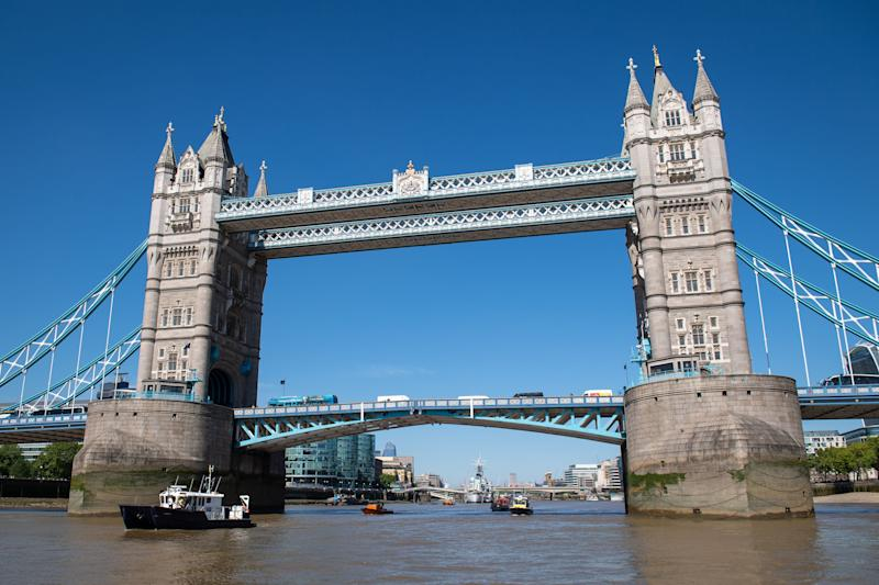 LONDON, ENGLAND - MAY 21: Boats operated by the Port of London Authority, Royal National Lifeboat Institution, Metropolitan Police and London Fire Brigade pass under Tower Bridge during the launch of a new campaign to help prevent accidents and self-harm incidents on the River Thames on May 21, 2019 in London, England. (Photo by Dominic Lipinski - WPA Pool/Getty Images)