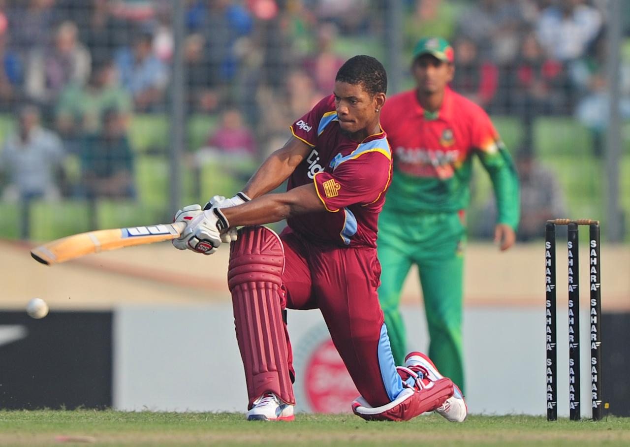 West Indies batsman Kieran Powell plays a shot during the fourth one day international cricket match between Bangladesh and the West Indies  at the Sher-e-Bangla National Cricket Stadium in Dhaka on December 7, 2012. AFP PHOTO/ Munir uz ZAMAN