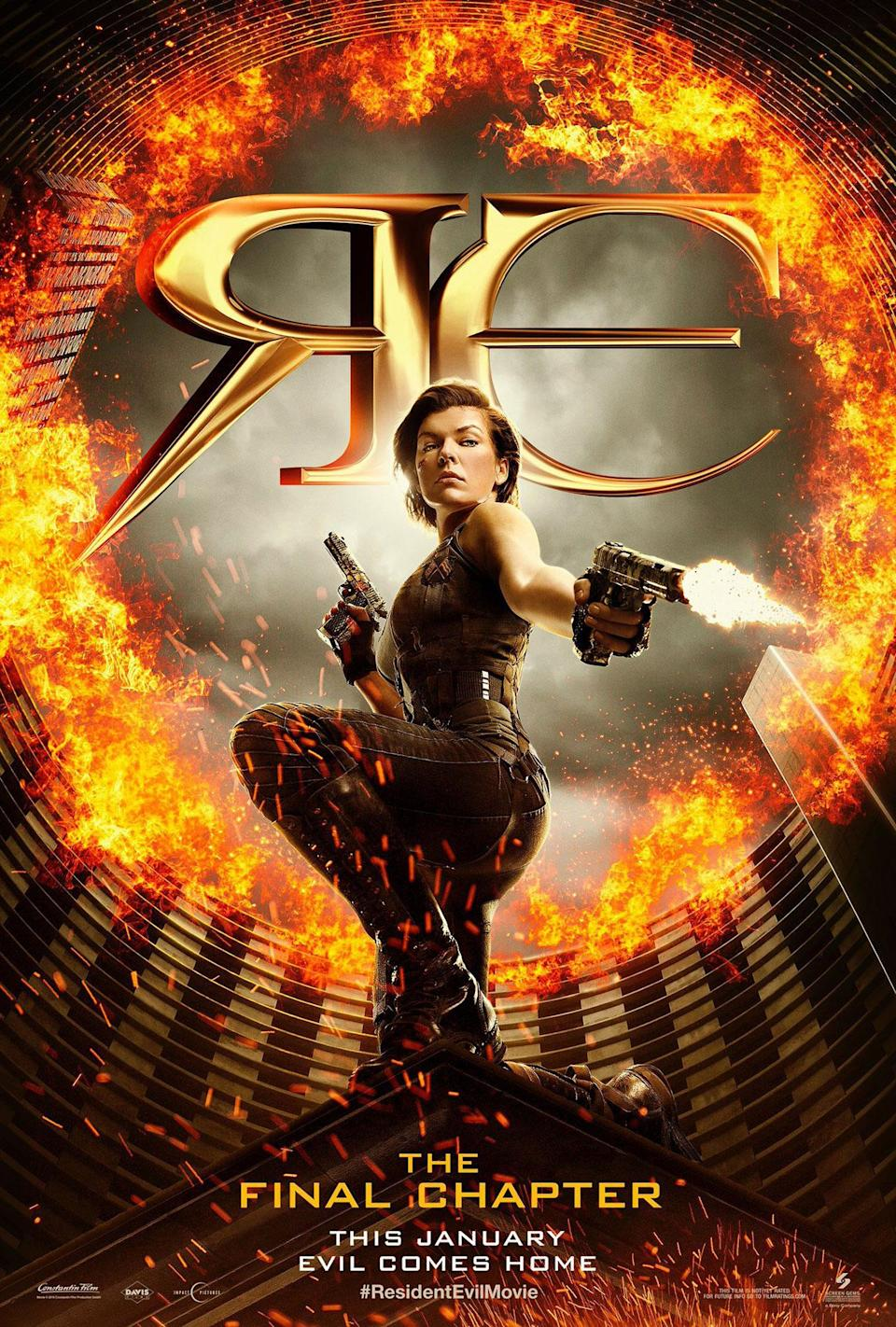 <p>This Hunger Games-aping poster for the final 'Resident Evil' film is a masterclass in how NOT to do perspective. Alice's head is WAY too big for her body, while her feet just seem ginormous. (Credit: Screen Gems) </p>