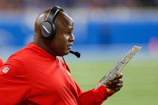 """<a class=""""link rapid-noclick-resp"""" href=""""/nfl/teams/kansas-city/"""" data-ylk=""""slk:Kansas City Chiefs"""">Kansas City Chiefs</a> offensive coordinator Eric Bieniemy's stock has been rising in recent years, but he has not yet landed a head coaching job. (Photo by Scott W. Grau/Icon Sportswire via Getty Images)"""