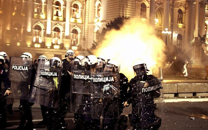 Police clash with protesters outside the Serbian Parliament building in Belgrade, Serbia, 07 July 2020 (issued 08 July 2020) - Roca Sulejmanovic/EPA-EFE/Shutterstock