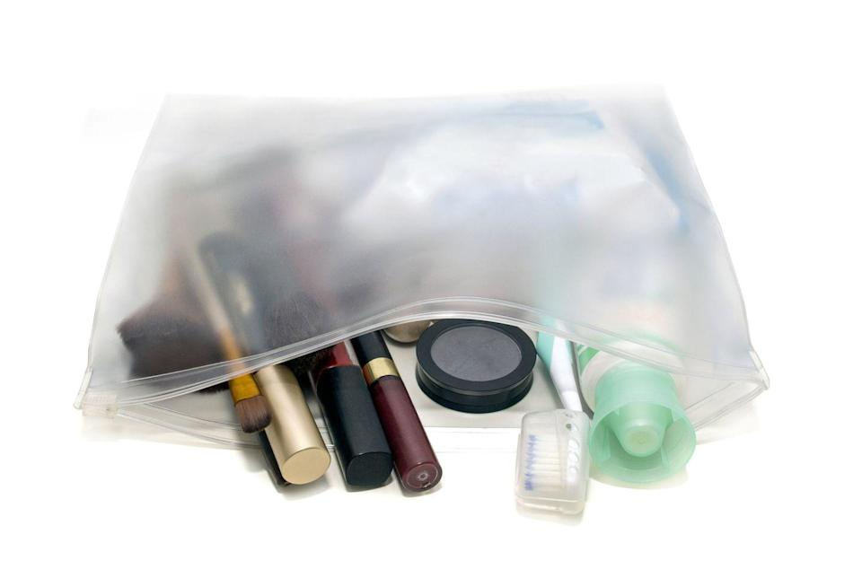 """<p>If you've collected a lot of small sampler products, corral them together in a clear zippered pouch that you can either grab and go the next time you travel or that you can keep in a drawer under the sink to try out the next time you want to change your skincare routine, Silberstein advises. </p><p><a class=""""link rapid-noclick-resp"""" href=""""https://www.amazon.com/Toiletry-Portable-Waterproof-Cosmetic-Organizing/dp/B07PNKKTP2/ref=sr_1_8?crid=3HG1TO0A2WEP1&dchild=1&keywords=clear+zipper+pouches&qid=1610655180&sprefix=CLEAR+ZIP%2Caps%2C166&sr=8-8&tag=syn-yahoo-20&ascsubtag=%5Bartid%7C10070.g.3310%5Bsrc%7Cyahoo-us"""" rel=""""nofollow noopener"""" target=""""_blank"""" data-ylk=""""slk:SHOP CLEAR ZIPPER POUCHES"""">SHOP CLEAR ZIPPER POUCHES</a></p>"""