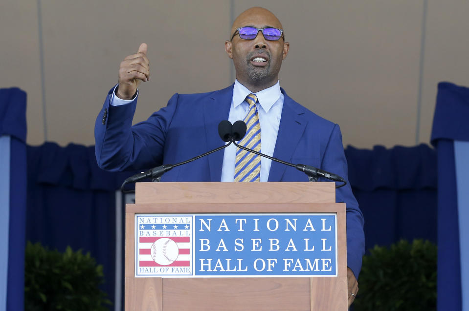 Harold Baines gives his speech during the Baseball Hall of Fame induction ceremony at Clark Sports Center on July 21, 2019 in Cooperstown, New York. (Photo by Jim McIsaac/Getty Images)