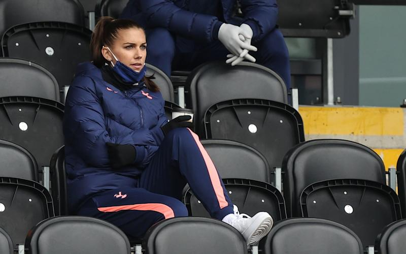 Alex Morgan will again be in the stands for this afternoon's match - GETTY IMAGES