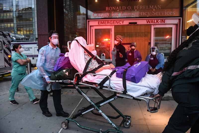 A patient is transported at NYU Langone Hospital in New York City on April 30.