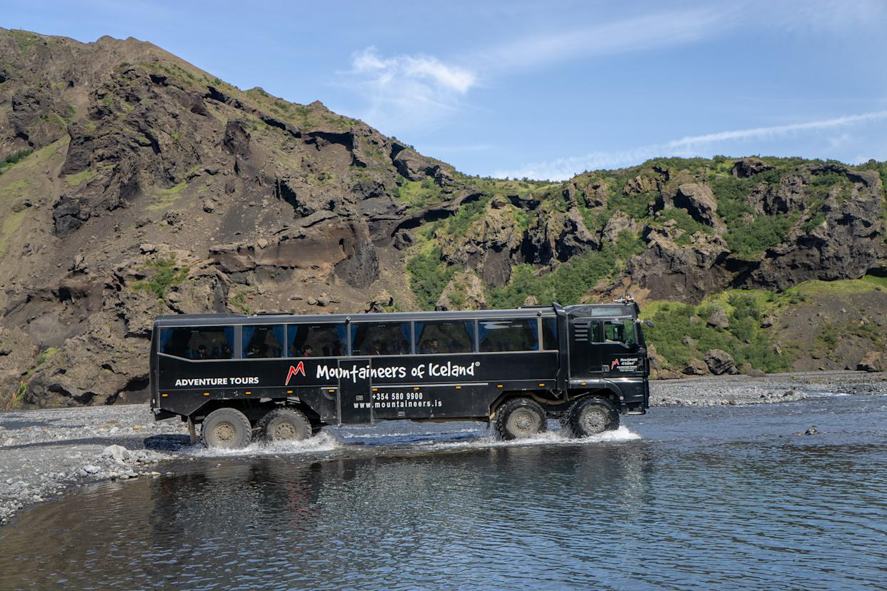 Huge buses conquer rivers with ease