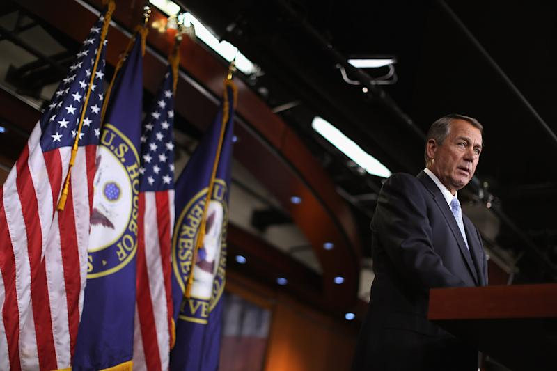 Speaker of the House John Boehner holds his weekly news conference at the US Capitol in Washington, DC, on February 5, 2015 (AFP Photo/Chip Somodevilla)