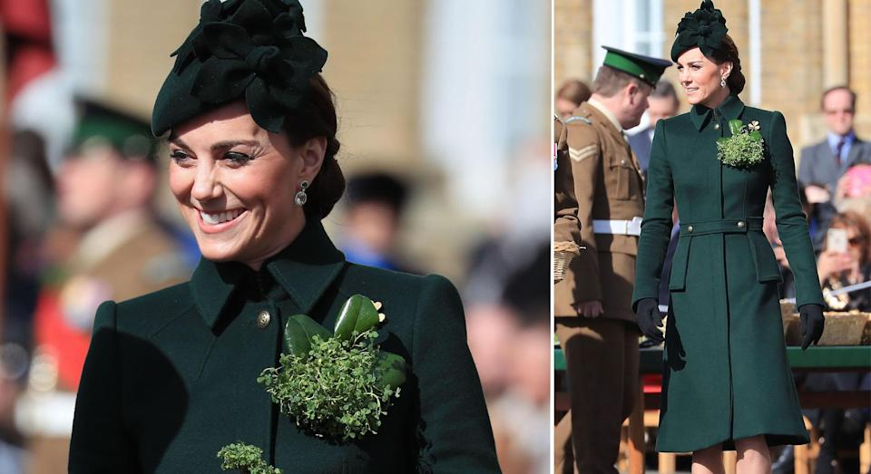 Kate hands out shamrock to Officers and Warrant Officers at the St Patrick's Day parade [Photos: PA]