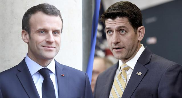 Emmanuel Macron, left; Paul Ryan (Photos: Ludovic Marin/AFP/Getty Images, Joshua Roberts/Reuters)