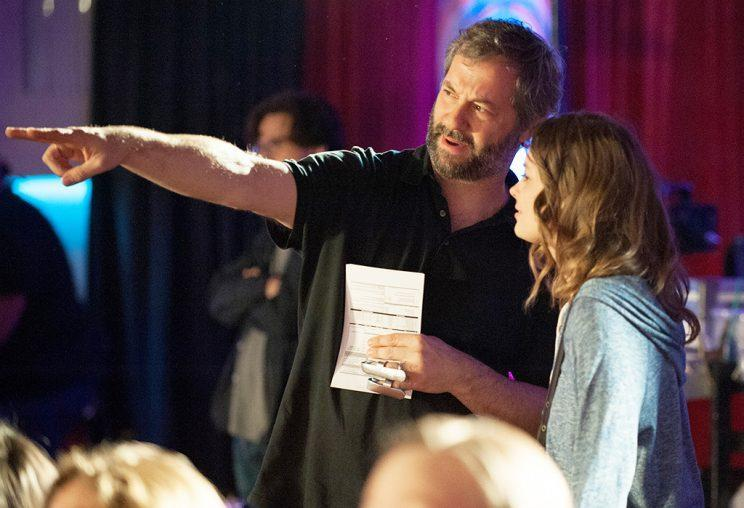 Judd Apatow and Gillian Jacobs on the set of <em>Love</em>. (Photo: Netflix)