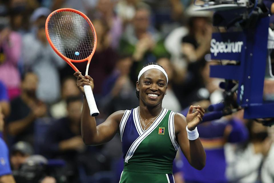 NEW YORK, NEW YORK - SEPTEMBER 01: Sloane Stephens of the United States celebrates after defeating Cori Gauff of the United States during her Women's Singles second round match on Day Three of the 2021 US Open at the Billie Jean King National Tennis Center on September 01, 2021 in the Flushing neighborhood of the Queens borough of New York City. (Photo by Matthew Stockman/Getty Images)
